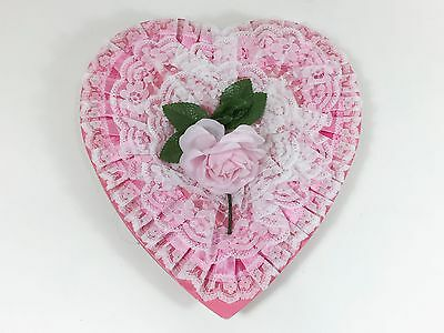 Vintage Heart Candy Box Pink Lace Rose Flower Valentines Storage Display