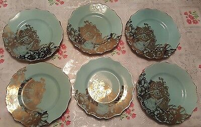 "222 Fifth Garden Playtime Turquoise Gold Bunny China 8"" Salad Plates 6 Piece Set"