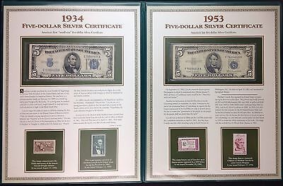 U.S. Stamps & Five Dollar Silver Certificates Album