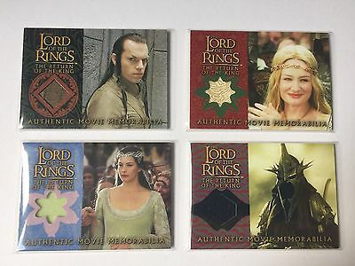8 x Topps LOTR Lord Of the Rings Costume Memorabilia Card ROTK Two Towers TT