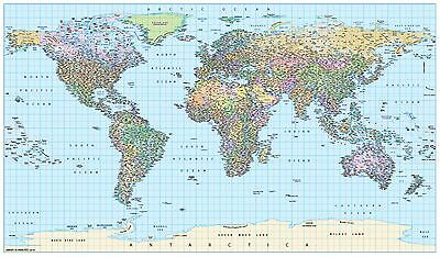 Large 2016 World Map Super Giant Poster 2350x1250mm latest countries & borders