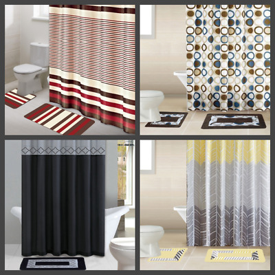 Many Design Printed Bathroom Bath Mat Set Rug Fabric Shower Curtain Rings 15Pc