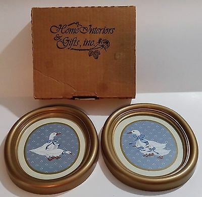 Pair Of 1986 Homco Inc Small Oval Goose / Geese Pictures 9663 - Usa