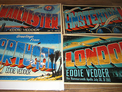 Eddie Vedder European Tour Posters Matching S/N A/P Editions (4) Pearl Jam Soto
