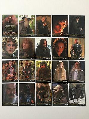 Topps Lord Of The Rings LOTR FOTR Fellowship UK Preview Promo Set L1 - L20