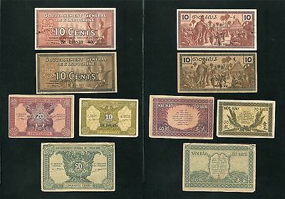 French indochina banknote 10 10 10 20 50 cents , 1939 - 1942 , Lot of 5 banknote