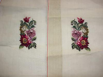 Pair of Floral Pre-Worked Petit-Point Needlepoint Canvas for chair arms