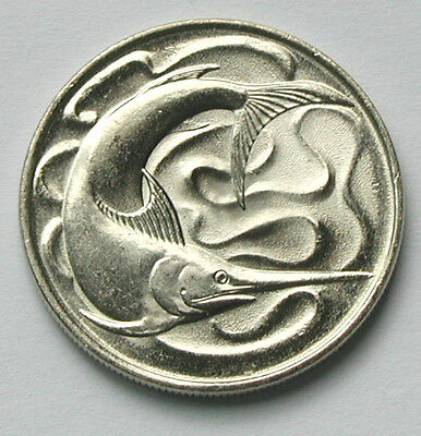 1977 Singapore Coin - 20 Cents - BU gem UNC mint lustre - animal (sword fish)