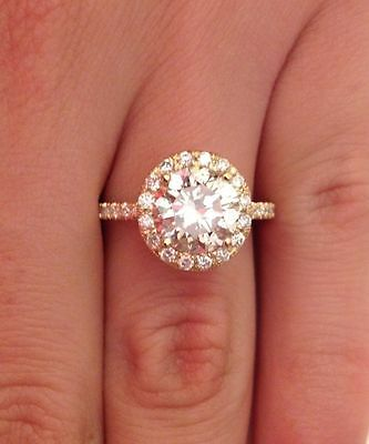 3.00 Ct Round Cut H/vs1 Diamond Halo Solitaire Engagement Ring 14K Yellow Gold