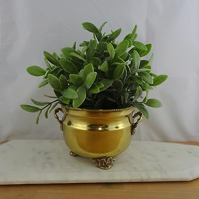 Vintage Small Brass Footed Plant Pot /  Golden Metal Planter