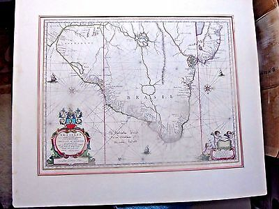Antique Map Brasil By Blaeu 1665 Gift From Kenneth Roberts To Malcolm Johnson