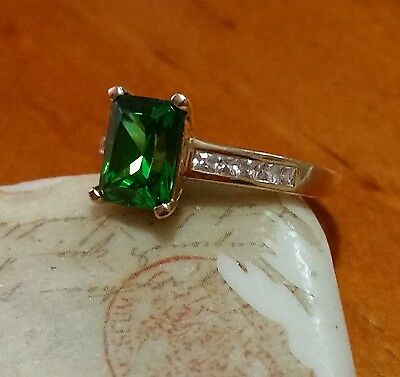 14kt Yellow Gold Simulated Emerald Green Stone and Simulated Diamond Ring