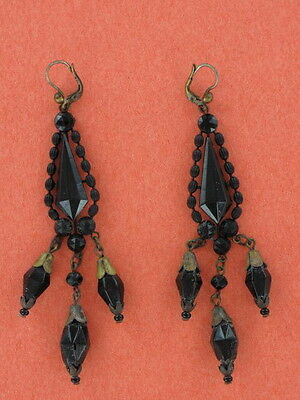 Victorian Jet Pendant Earrings For Priced Ears (FN182)