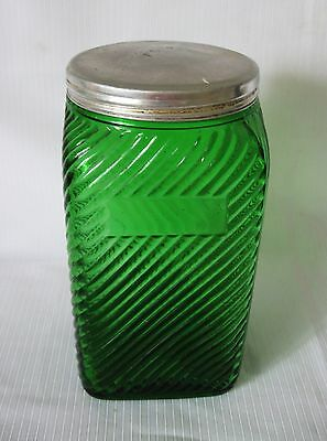 C. 1930 OWENS ILLINOIS GLASS FOREST GREEN  RIBBED 7 3/8 inch CANISTER with LID