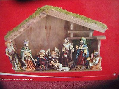 JC Penney Home Collection - 12 Piece Porcelain Nativity Set In Box - NICE!