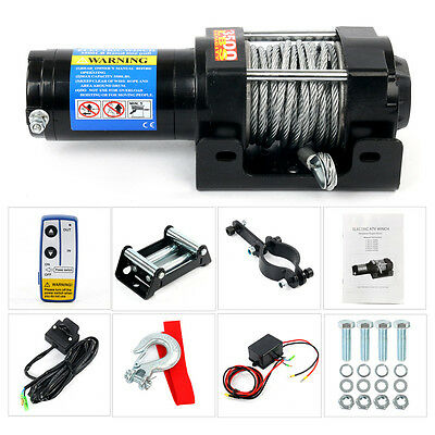 3500lbs Remote Electric Steel Cable Winch Kit 12V ATV Tow Jeep Truck Trailer