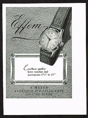 1950's Small Vintage 1950 F Meyer Effem Watch Co. - Paper Print AD