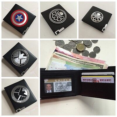 New Official Avengers Agents Of Shleld Badge In Leather Wallet Or Holder Case