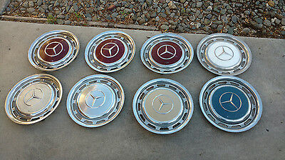 """Lot of 8 Vintage 1970's Mercedes Benz Hubcaps Wheel Covers with 15 3/8"""" Diameter"""
