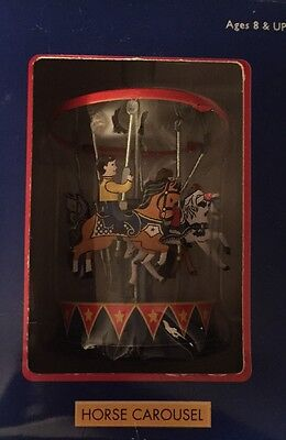 """Vintage Schylling Collectors Series """"Horse Carousel""""  Pull & Spin Metal Toy NIB"""