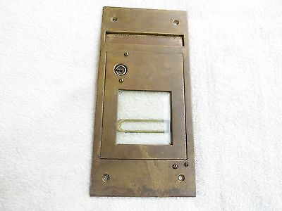 """Antique Early Mail Box Door no key Solid Brass with Glass & drop slot 4 1/4""""X 9"""""""