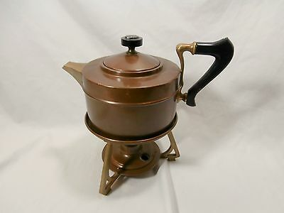 Antique 1904 Manning Bowman Copper Coffee Tea Pot with Oil Warmer & Stand