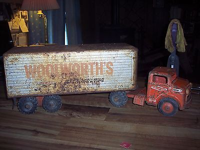 Vintage Marx Pressed Steel Woolworth stores Semi Truck and Trailer - Used