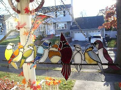 Stain Glass Birds on a Wire Suncatcher(REAL GLASS)
