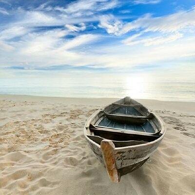 Canvas Print Painting Pictures Photo Wall Art Home Decor Blue Sea Boat Beach