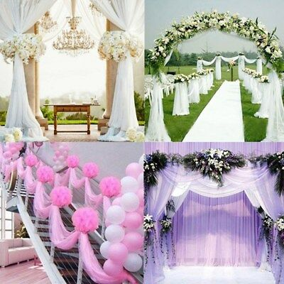 10M Top Table Chair Swags Sheer Organza Fabric Wedding Party Decoration 5 Color