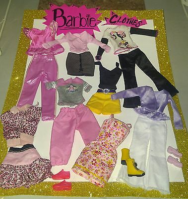 """Mattel BARBIE """"MIXED 18 Pc CLOTHES & SHOES"""" FASHION LOT, USED, NICE, FREE SHIP!"""