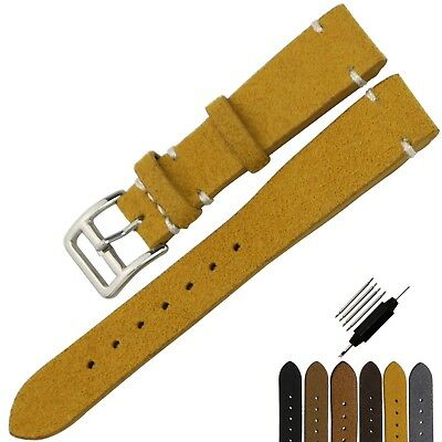 NEW Suede Genuine Leather Watch Band Strap Distressed Brown S/Steel Buckle 20mm