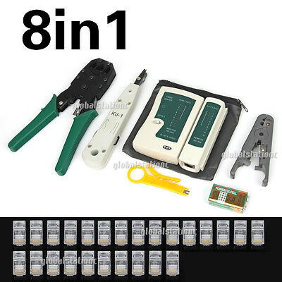 8IN1 Network Cable Wire Tool Kit Tester Crimper Punch Down Stripper CAT6 RJ45