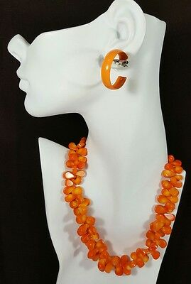 Vtg Jewelry Necklace Earrings Glass Corn Orange/Yellow Beads Unique Design #13