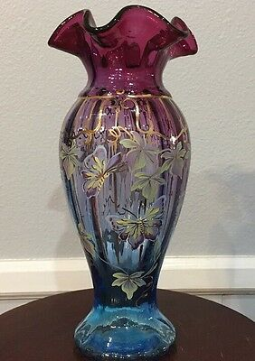 Fenton Limited Edition Mulberry Glass H/P Butterfly Grape Vine Signed Don Fenton