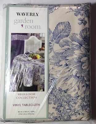 "Waverly Garden Room Blue Toile Vinyl Tablecloth 60"" X 84"" Oval roses Heirloom"