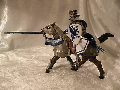 Schleich Style Papo Jousting Knight King On Armored Horse Very Nice See Pics