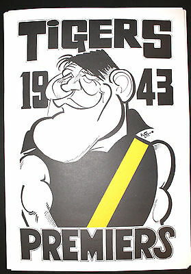 1943 Richmond Premiers Weg poster Jack Dyer caricature Tigers Premiership