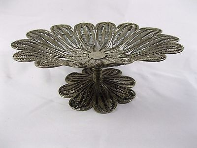 Ronac Handicraft Persian Silver Metal Wire work footed Compote filigree dish