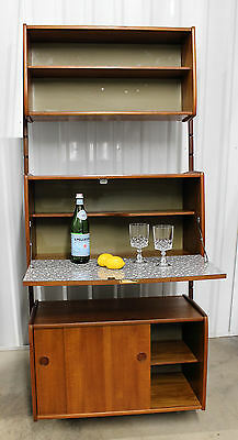 TEAK WALL UNIT Cado Style Mid Century Danish Modern Bookcase Shelving Bar Ergo