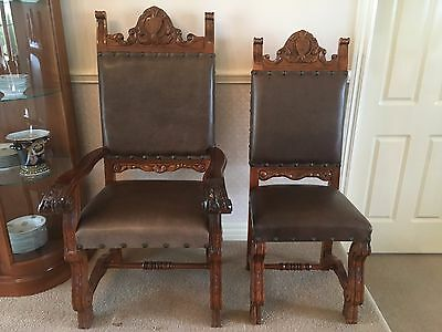 Antique Gothic French Chairs, set of 6