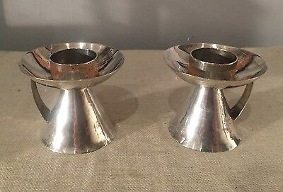 Antique Arts & Crafts Chicago Sterling Silver Hand Made Pair Handle Candlesticks