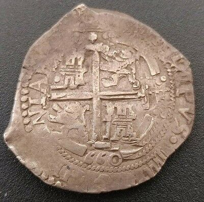 Potosi Bolivia 8 Reales Cob 1660 - E Two Dates Visible Bold Cross & Details