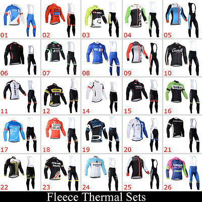 New Mens Winter Cycling Jerseys Long Sleeve Bib Tights Outfits Fleece Thermal