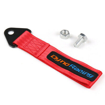 RED High Strength Tow Strap Racing Sports Bumper Towing Rope Front Rear Tow Hook