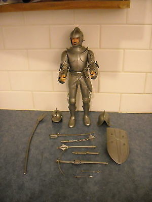 "Vintage Marx Noble Silver Knight Sir Stewart 12"" Action Figure Armour Weapons Vg"