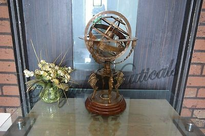 "Brass-Armillary18""- Large-Engraved-Nautical-Sphere-Globes-World-sundail-compas"