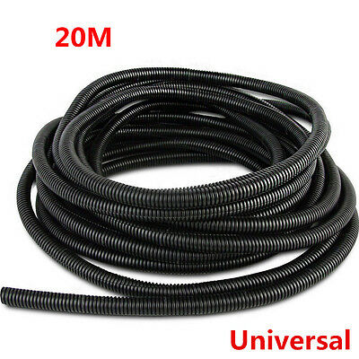 Universal 20 Meter Black Split Loom Wire Flexible Tubing Conduit Hose for Car