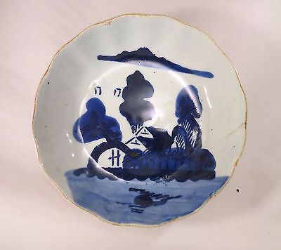 Antique Japanese Arita Imari Ceramic Blue & White Bowl Village Japan A (EL)