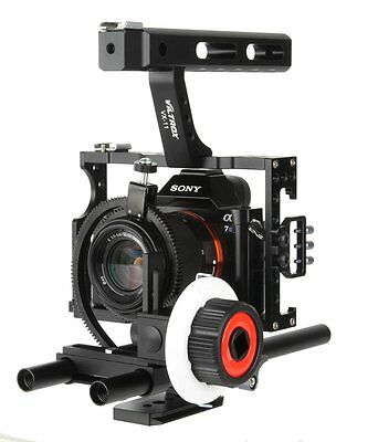 15mm Rod Rig Video Camera Cage+ Top Handle Grip+ Follow Focus for Sony A7s A7r
